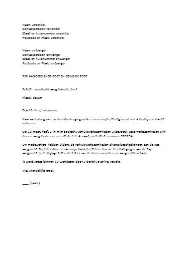 voorbeeldbrief klachtenbrief Voorbeeldbrief Klachtenbrief | gantinova