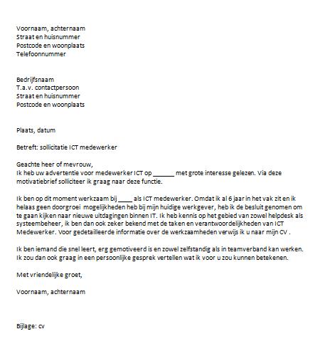 voorbeeld motivatiebrief it Motivatiebrief Ict Medewerker | gantinova