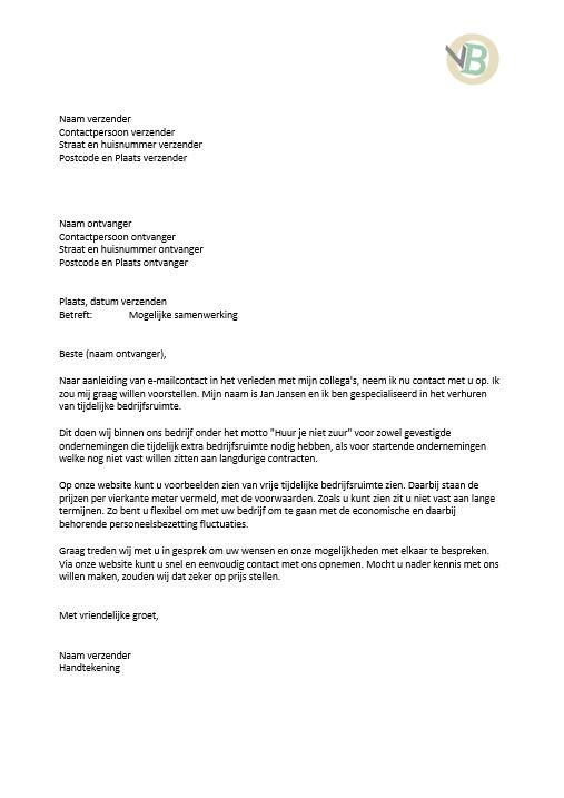 voorbeeld voorstel brief Voorbeeld Zakelijke Brief 2