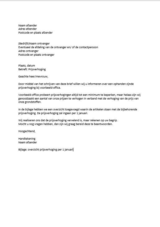 opzet officiele brief zakelijke brief
